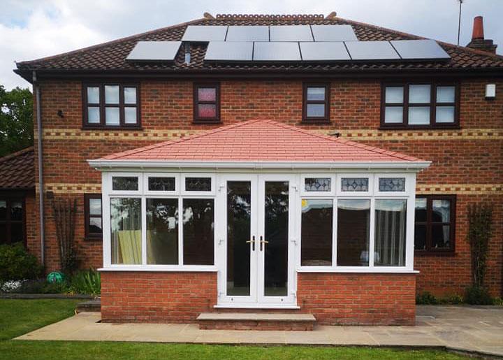 warm tiled roof on garden room